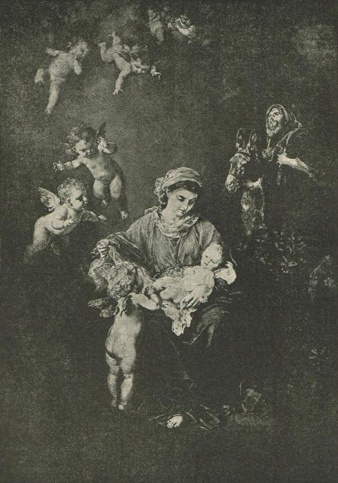 Illustration of Mary holding the infant Jesus as winged cherubs surround them.
