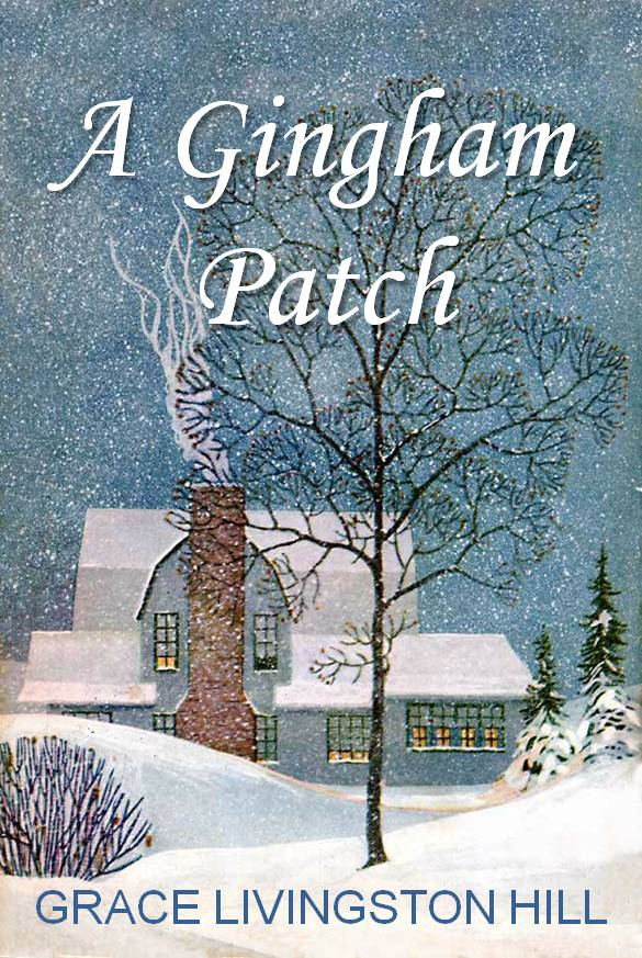 Book cover. Winter scene of house with smoke coming from the chimney, surrounded by snow drifts.