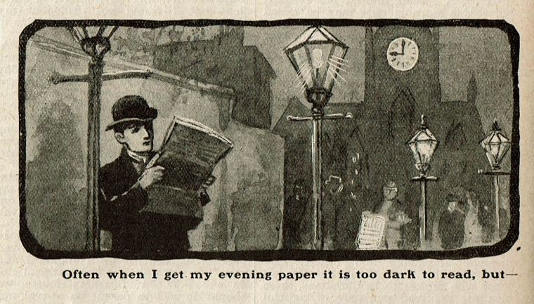 Newspaper illustration of a man standing under a street lamp at night trying to read a newspaper. In the background a clock on a church tower shows nine o'clock.