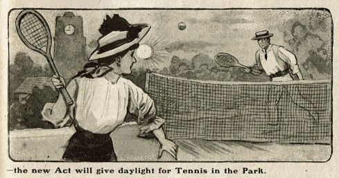 Newspaper illustration of a man and woman playing tennis. In the background the sun in still shining brightly in the sky and a clock on a building shows the time is nine o'clock.