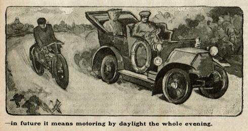 Newspaper illustration showing a man on a motorcycle passing a woman and her chauffeur driving an automobile. In the background the sun shines brightly in the sky.