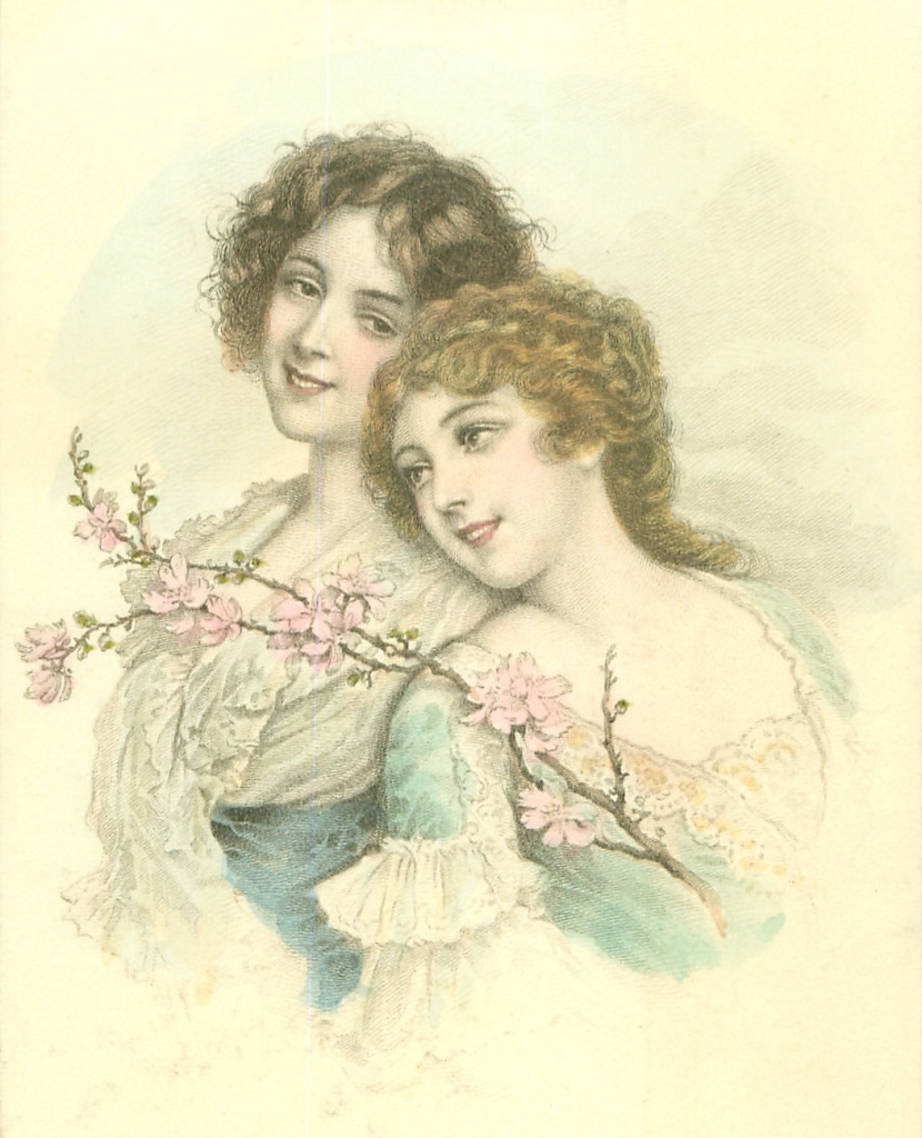 Illustration of two young women in old period dress, standing close together with a small branch of a pink flowering bush.