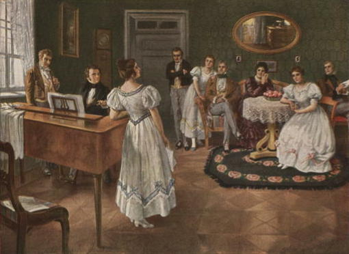 Illustration of a group of young people in a drawing-room about 1875. Some are seated, some are standing. One man sits at a piano and looks at a young  woman who stands beside the piano, singing and holding sheet music.