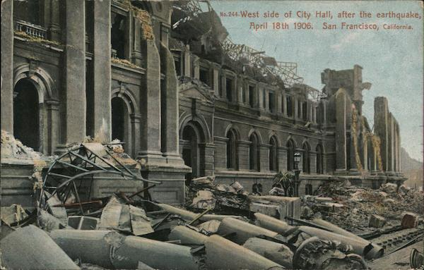 Photo of San Francisco City Hall. The roof has collapsed and portions of the building have fallen away. Stone columns from the building and other debris lie in the street.