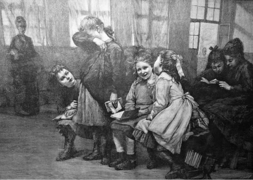 Illustration of an 1888 classroom of young girls. One girl stands; she is holding a book, her head is bent and she holds up her arm to cover her face. The other students are seated; one tries to comfort the embarrassed student. Two others whisper and smile together; while two more are reading a book in the back. A teacher stands near the window of the room.