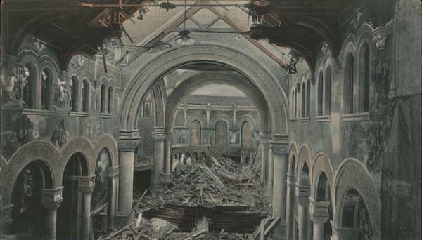 Interior photo of the ruins of the Memorial Chapel.