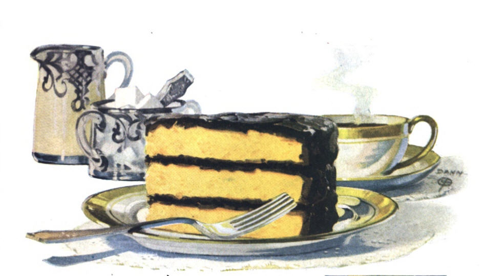 Image of a slice of yellow cake with chocolate icing on a plate with a fork. in the background are a cup of coffee, a cream pitcher, and a sugar bowl filled with sugar cubes.