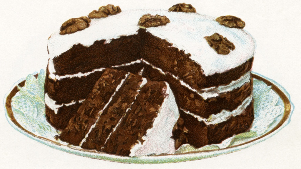 Image of a three-tier chocolate cake with white icing.