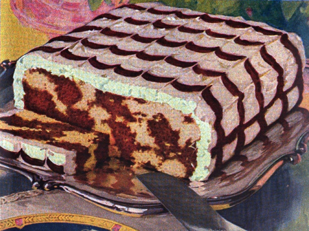 Photo of a marble cake sliced open to show the marble pattern