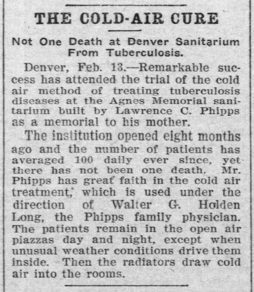 """Brief newspaper article titled """"The Cold-Air Cure,"""" which claims """"Not one death at Denver Sanitarium from Tuberculosis."""""""