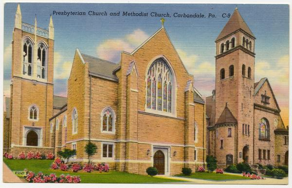 Illustration showing two churches side by side. The Presbyterian church is constructed in a Gothic style with a square bell tower.