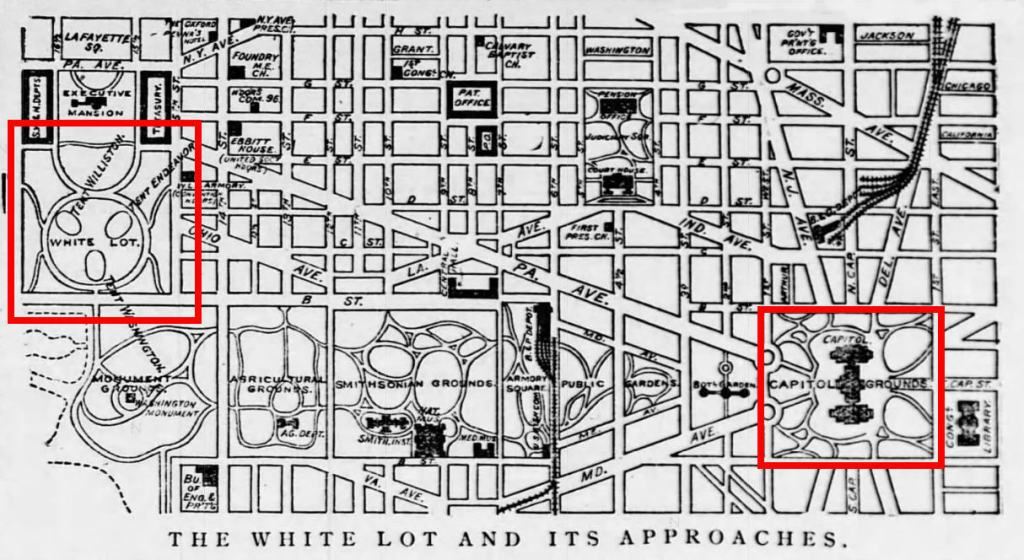 Map showing the streets around the National Mall. The Capitol Grounds and The Ellipse are circled in red to show their locations and distance.
