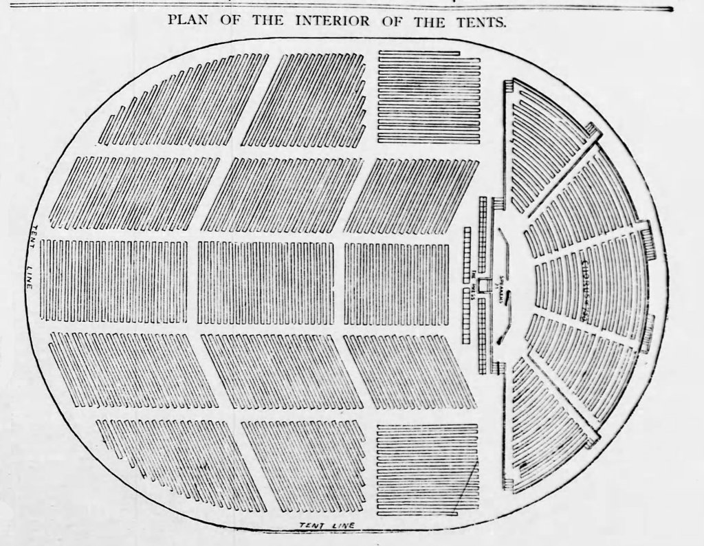 Drawing showing oval shaped tents. On one end is a stage flanked by two rows of chairs. Behind the stage and in front of it are tightly placed rows of seating for audience.
