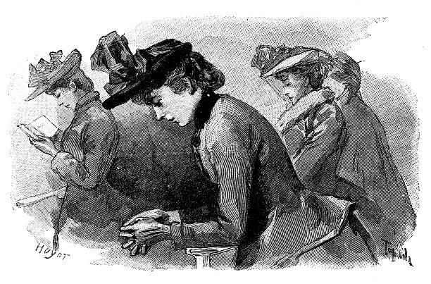 Antique illustration of women praying in church.