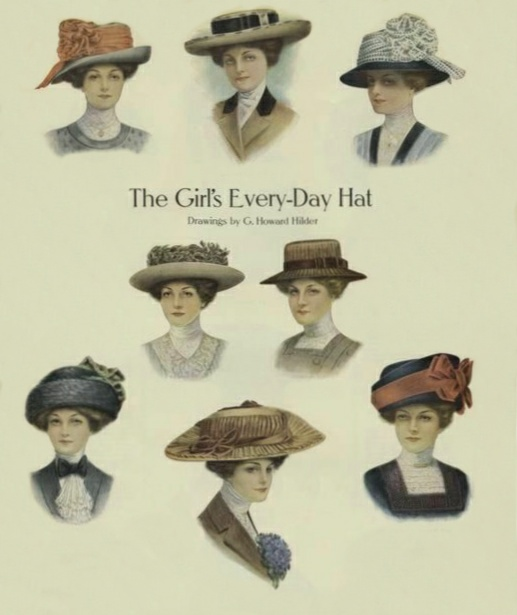 """Drawings of """"The Girl's Every-Day Hat from about 1908, featuring illustrations of eight different hat styles."""