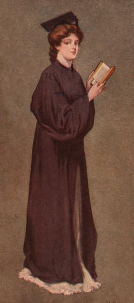 Illustration of girl wearing graduation cap and gown over a long dress that reaches the floor. Her hair is styled about 1910. She holds an open book.