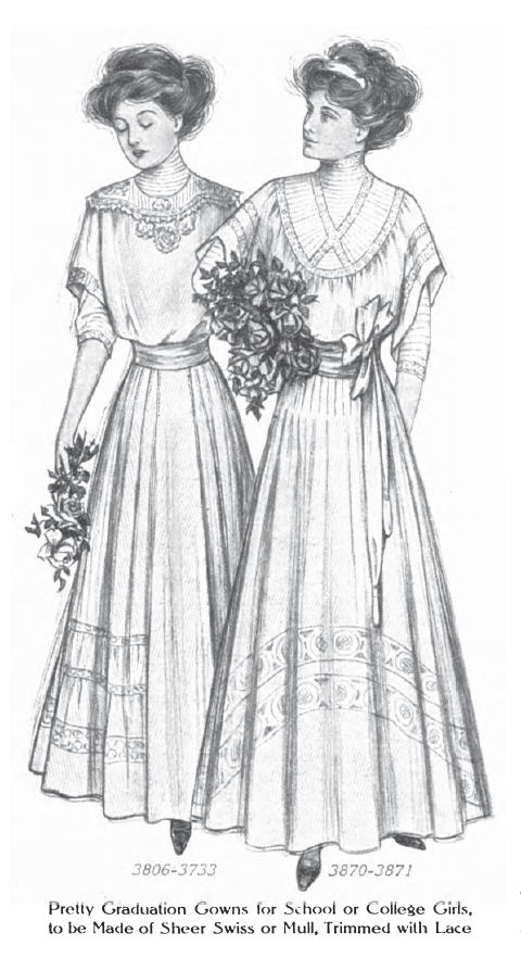 """Illustration of two young women wearing white gowns. The caption reads, """"Pretty graduation gowns for school or college girls """"to be made of sheer swiss or mull, trimmed with lace."""""""
