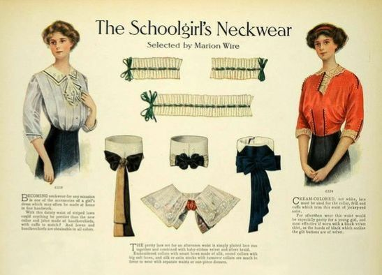Magazine illustrations of two young women; one wears a white shirtwaist; the other wears red. Displayed between them are different styles of collars and cuffs to go with either shirtwaist.