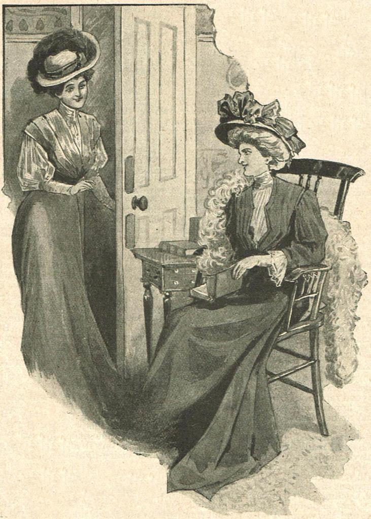 Illustration of a young woman entering a room where a second woman is seated, reading a book.